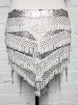 CAIRO COLLECTION: Beaded Pyramid Sequin Hipscarf - SILVER