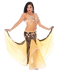 CAIRO COLLECTION: Professional Belly Dance Costume from Egypt - BLACK / SOFT YELLOW CREAM