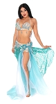 CAIRO COLLECTION: Professional Belly Dance Costume from Egypt- TURQUOISE GREEN / SILVER