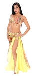 CAIRO COLLECTION: Professional Belly Dance Costume from Egypt- SUNNY YELLOW / ORANGE MULTI LEOPARD