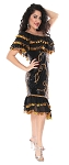 CAIRO COLLECTION: Melaya Leff Dress with Paillettes- BLACK / GOLD