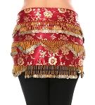 CAIRO COLLECTION: Floral Metallic Print Beaded Coin Hip Scarf - BURGUNDY / GOLD
