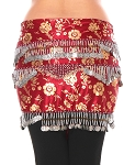 CAIRO COLLECTION: Floral Metallic Print Beaded Coin Hip Scarf - BURGUNDY / SILVER