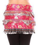 CAIRO COLLECTION: Floral Metallic Print Beaded Coin Hip Scarf - HOT PINK / SILVER