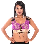 Embroidered Tribal Lace-Up Choli Top - ROYAL PURPLE