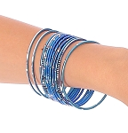 Etched Metal Bangles SET of 12 - BLUE