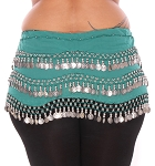 Plus Size 1X - 4X Chiffon Belly Dance Hip Scarf w/ Beads and Coins - TEAL / SILVER