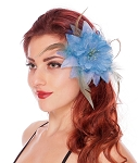 Hair Flower with Feather Accents - BLUE