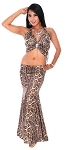 Mermaid Trumpet Skirt and Halter Top with Jewel & Fringe (SET) - BROWN LEOPARD