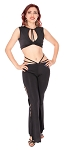 Strappy Sleeveless Top and Pants Set - BLACK