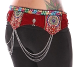Ornate Red Velvet Tribal Belt with Shisha Mirrors & Chain Drapes