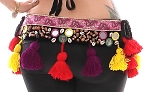 Colorful Shisha Tribal Belt with Shells & Tassels - BLACK / MULTI