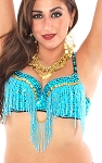 Cabaret Belly Dance Bra with Fringe - TURQUOISE / GOLD