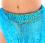 Cabaret Belly Dance Belt with Fringe - TURQUOISE / GOLD
