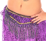 Cabaret Belly Dance Belt with Fringe - PURPLE / GOLD