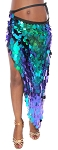 Long Skirt / Wrap with Paillettes - IRIDESCENT GREEN BLUE