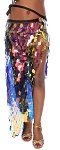 Long Skirt / Wrap with Paillettes - IRIDESCENT BLACK OPAL