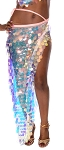 Long Skirt / Wrap with Paillettes - IRIDESCENT WHITE OPAL