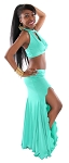 Twist Front Halter and Mermaid Skirt Set - TURQUOISE GREEN