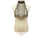 Pearl Costume Bra Cover with Chain Fringe - BLACK / GOLD