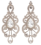 Large Rhinestone Teardrop Chandelier Earrings - CLEAR CRYSTAL / SILVER