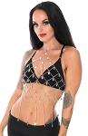 Art Deco Chain Bra Cover Halter Top with AB Crystals - SILVER