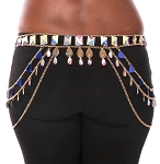 Chain Costume Belt with AB Crystals and Side Drapes - GOLD