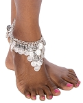 Chain Costume Anklet with Coins - SILVER
