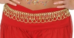 Metal Mesh Costume Belt with Bells and Chain Drapes - GOLD