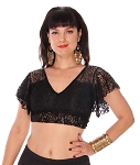 Embroidered Floral Lace Choli Tie Top - BLACK