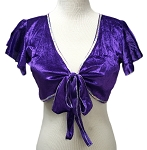 Velvet Tie Front Half Top Choli with Ruffle Cap Sleeves - PURPLE GRAPE / SILVER
