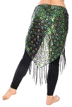 Peacock Design Sequin Embroidered Hip Wrap Shawl with Fringe - GREEN