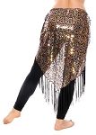 Peacock Design Sequin Embroidered Hip Wrap Shawl with Fringe - GOLD