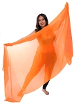 Silk Belly Dance Veil - ORANGE