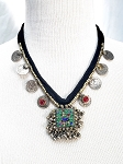 Afghani Tribal Coin Necklace with Kuchi Pendant - ASSORTED