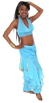 2-Piece Endless Wave Bollywood / Belly Dance Costume - BLUE TURQUOISE / GOLD
