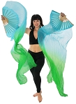 Silk Fan Veils Dance Prop (Set of 2) - BLUE TURQUOISE / GREEN