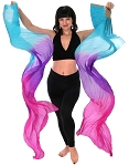 Silk Fan Veils Dance Prop (Set of 2) - BLUE TURQUOISE / PURPLE / FUCHSIA