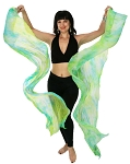 Silk Fan Veils Belly Dance Prop (Set of 2) - Tie Dye - SPRING