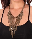 Chainmail Necklace with Chain Tassels - ANTIQUE BRONZE