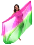 Ombre Silk Belly Dance Veil - FUCHSIA / GREEN