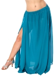 3-Panel Chiffon Skirt - TEAL BLUE