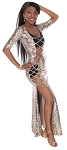 Metallic Snake Print Lace Up Costume Dress - GOLD / COPPER / BLACK