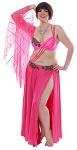 2 Piece Mesh and Satin Belly Dance Costume with Attached Sleeve Drape - FUCHSIA / BLACK