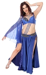 2 Piece Mesh and Satin Belly Dance Costume with Attached Armdrape - ROYAL BLUE / BLACK
