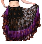 25 Yard Bindi Sari Tribal Skirt - BLACK / ORCHID / PLUM