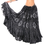 25 Yard Assuit Print Tribal Skirt - BLACK / SILVER