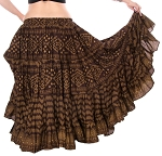 25 Yard Assuit Print Tribal Skirt - CHOCOLATE / GOLD
