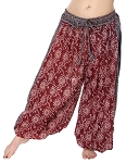 4.5 Yard Full Pantaloon Harem Pants with Print - BURGUNDY