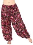 4.5 Yard Full Pantaloon Harem Pants with Floral Print - FUCHSIA
